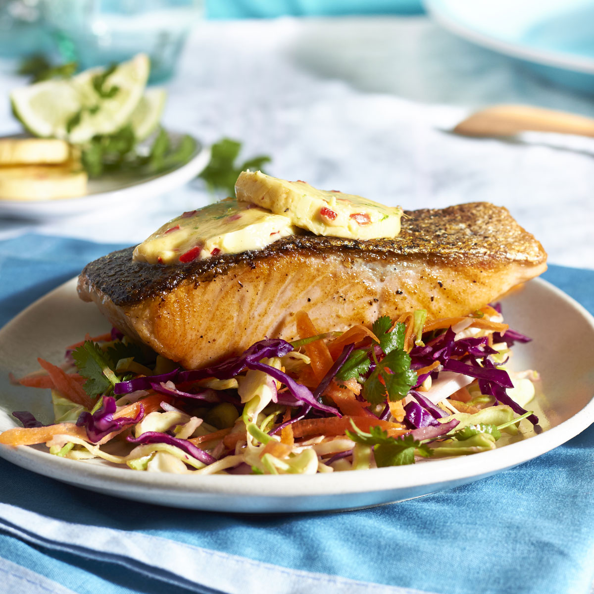 Salmon with Lime, Chilli & Ginger Butter