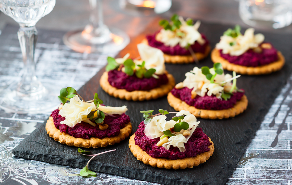 Beet Pesto, Parmesan and Pine Nut Canapes